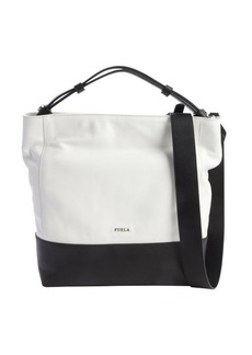 Furla white and black leather 'Amalfi' logo imprint hobo bag