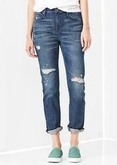 1969 destructed mid-rise real straight skimmer jeans
