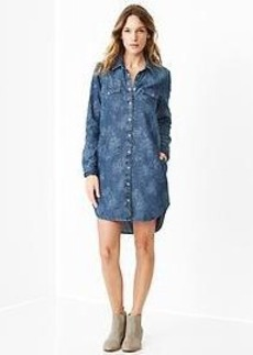 1969 floral western denim shirtdress