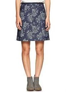 A-line indigo jacquard skirt