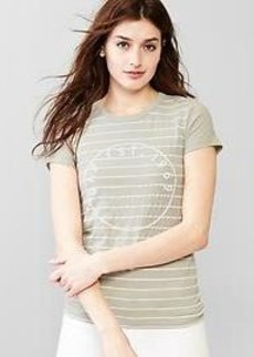 Beaded logo stripe tee
