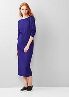 Boatneck zip-back midi dress