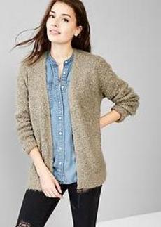 Boucle open-front cardigan