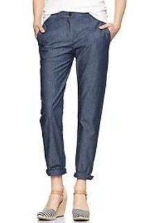 Broken-in straight chambray pants