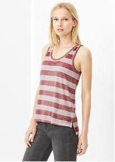 Burnout stripe step-hem tank