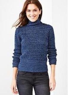 Button mockneck marled waffle sweater