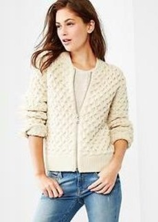 Cable knit bomber jacket