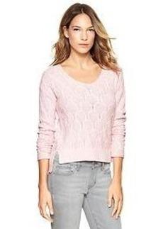 Cable step-hem sweater