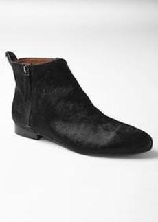 Calf hair ankle booties