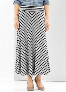 Chevron stripe foldover maxi skirt