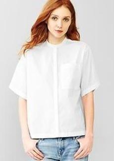 Collarless mini-stripe shirt