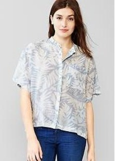 Collarless palm print shirt