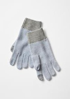 Colorblock lambswool tech gloves