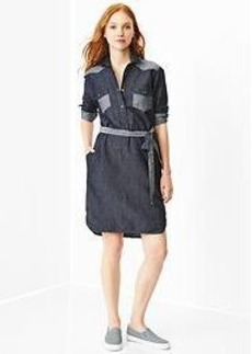 Colorblock western shirtdress