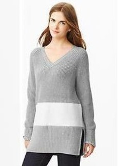 Contrast-panel sweater tunic