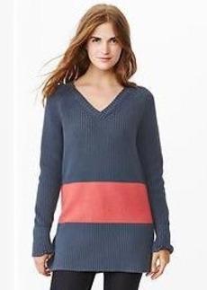 Contrast-panel sweater tunic