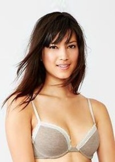 Cotton plunge demi bra