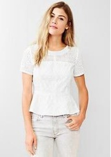 Eyelet embroidered peplum top