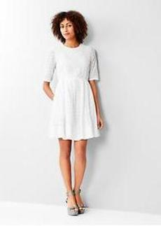 Eyelet-stripe fit & flare dress