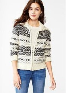 Fair isle sweater bomber jacket
