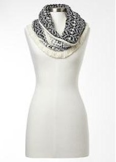 Fair isle wool cowl scarf