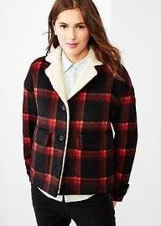 Festive plaid sherpa-lined jacket