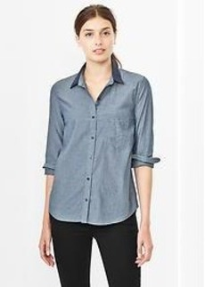 Fitted boyfriend contrast-collar chambray shirt