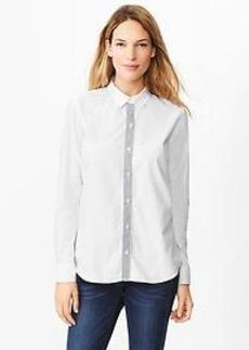 Fitted boyfriend contrast-placket shirt