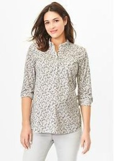 Fitted boyfriend floral popover shirt
