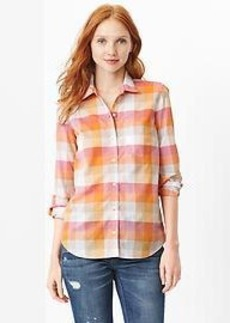 Fitted boyfriend plaid shirt