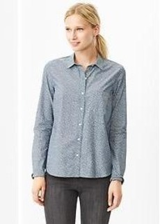 Fitted boyfriend printed chambray shirt