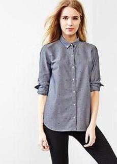 Fitted boyfriend printed oxford shirt