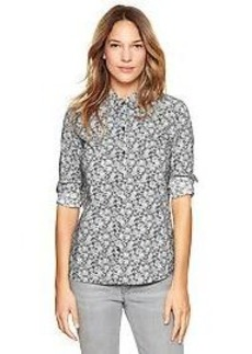 Fitted boyfriend printed shirt