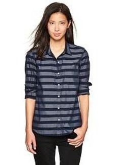 Fitted boyfriend stripe oxford shirt