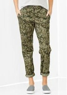 Floral camo broken-in straight khakis