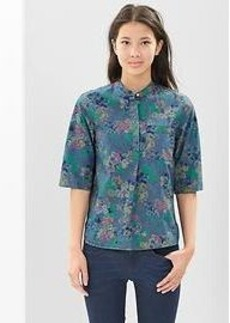 Floral chambray popover henley