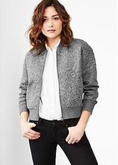 Floral quilted cocoon bomber