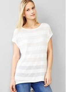 Fluid shadow-stripe hi-lo tee