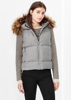 Fur-trim down puffer vest