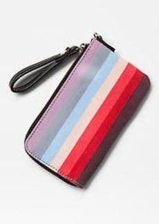 Holiday stripe wristlet