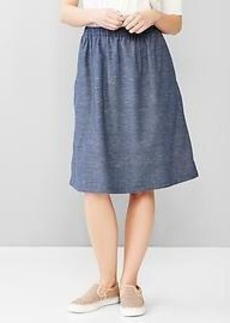 Indigo chambray midi skirt