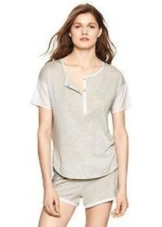 Jersey contrast-sleeve henley