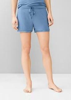Lace-trim modal shorts