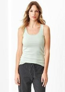 Lace-trim ribbed tank