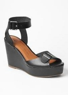 Leather buckle wedges