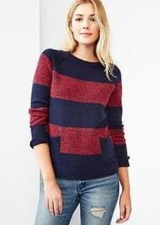 Marled stripe raglan sweater