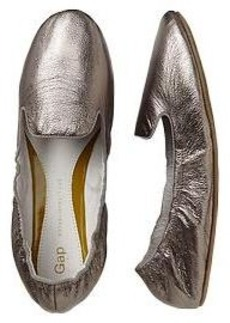 Metallic scrunch leather loafers