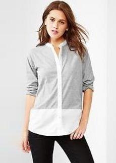 Mix-fabric henley shirt