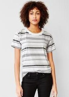 Mix-stripe crew tee