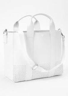 Perforated leather tote crossbody